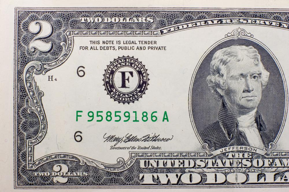 Thomas Jefferson on a two-dollar bill.
