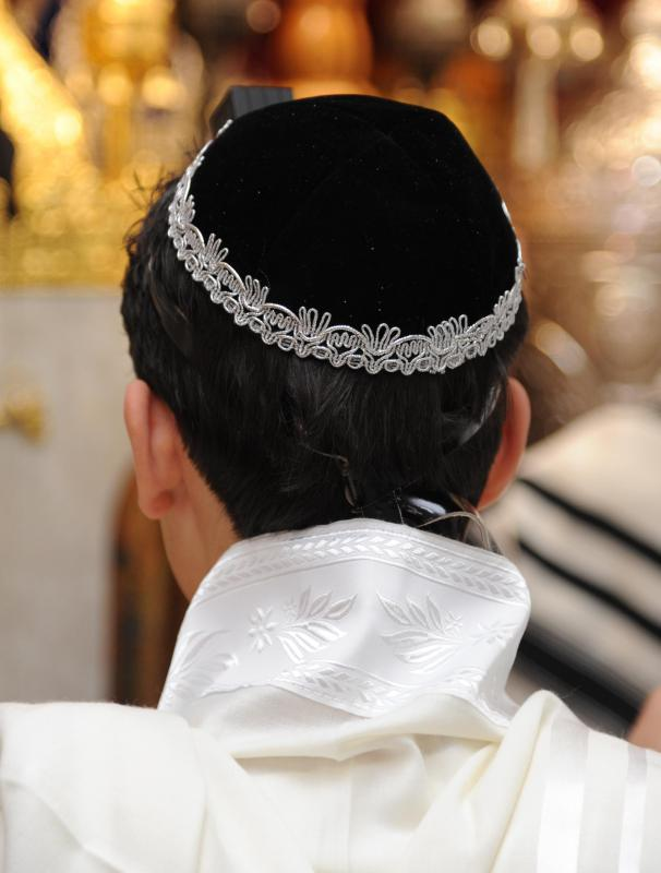 A Jewish boy celebrates his bar mitzvah at the age of 13.