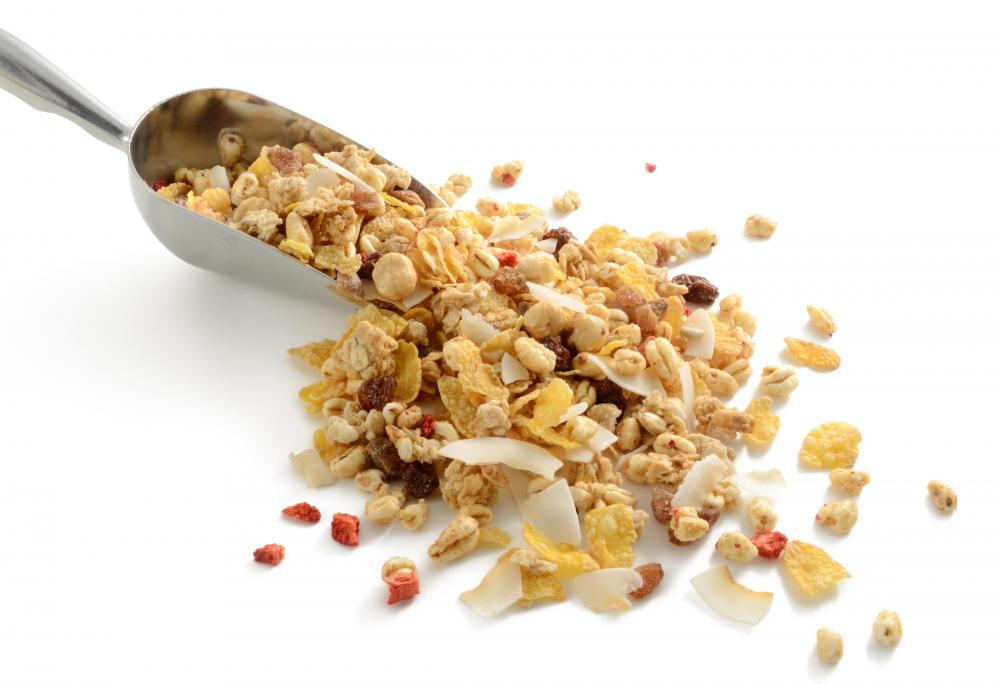 Muesli has a large amount of complex carbohydrates.