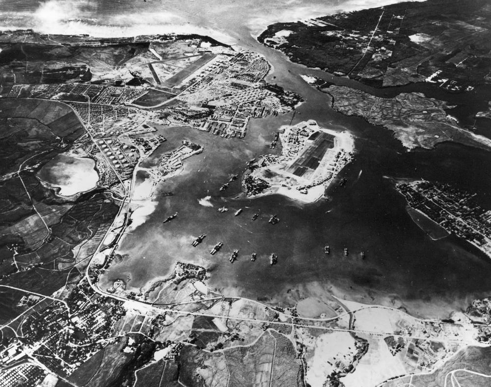Aerial view of Pearl Harbor before the attack.