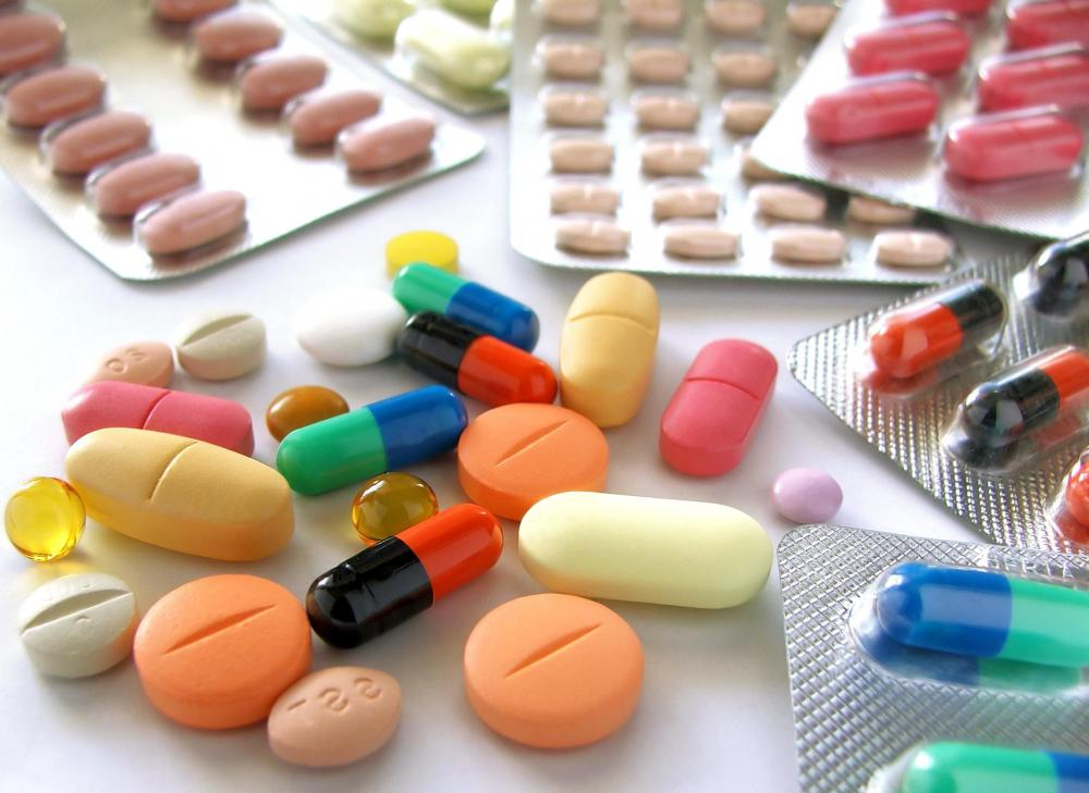 Medications at a military pharmacy.