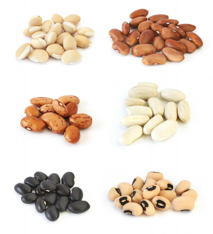Many beans, including pinto beans (middle left), are good sources of B1.