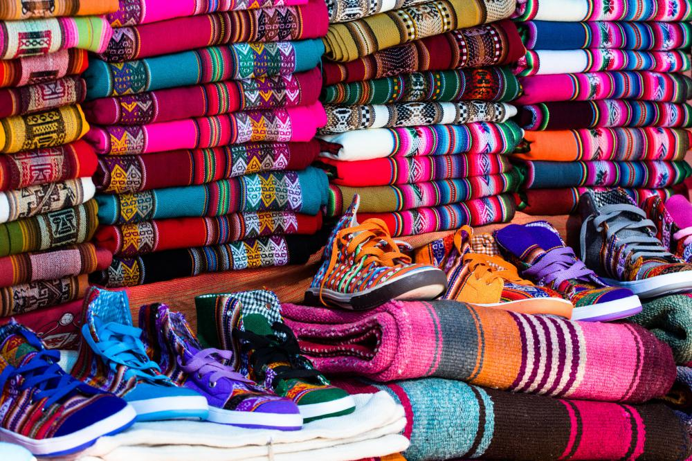 Peruvian serapes, which can be worn as everyday wear, are known for their bright colors.