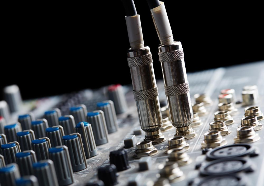 Electric instruments and microphones can be plugged into mixing boards by using traditional music cables with quarter-inch plugs.