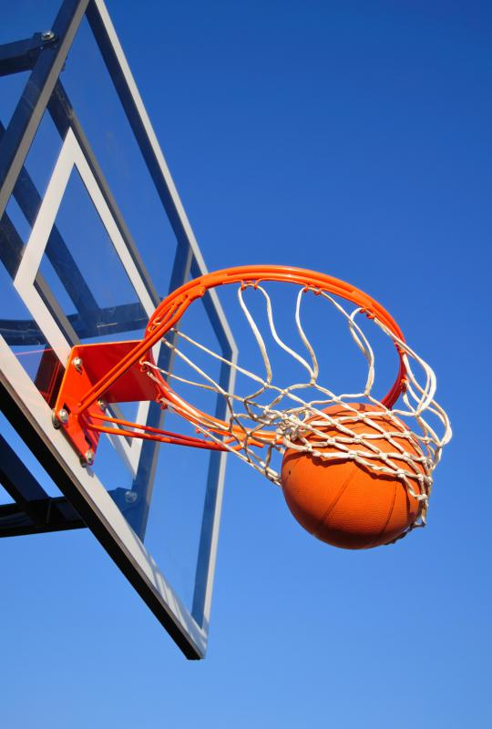 "Basketball hoops today are made from 19"" iron rims."