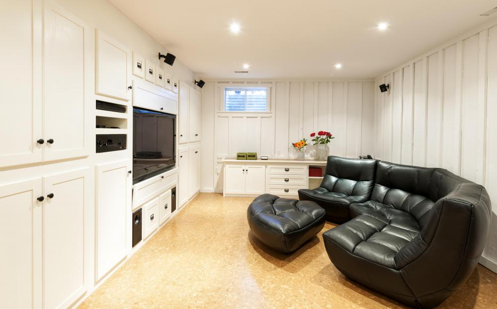 Finished basements have all of the space finished with livable rooms, such as a recreation room.