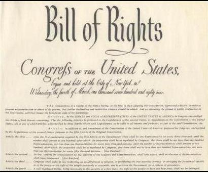 The Bill of Rights, the first ten amendments to the US Constitution.