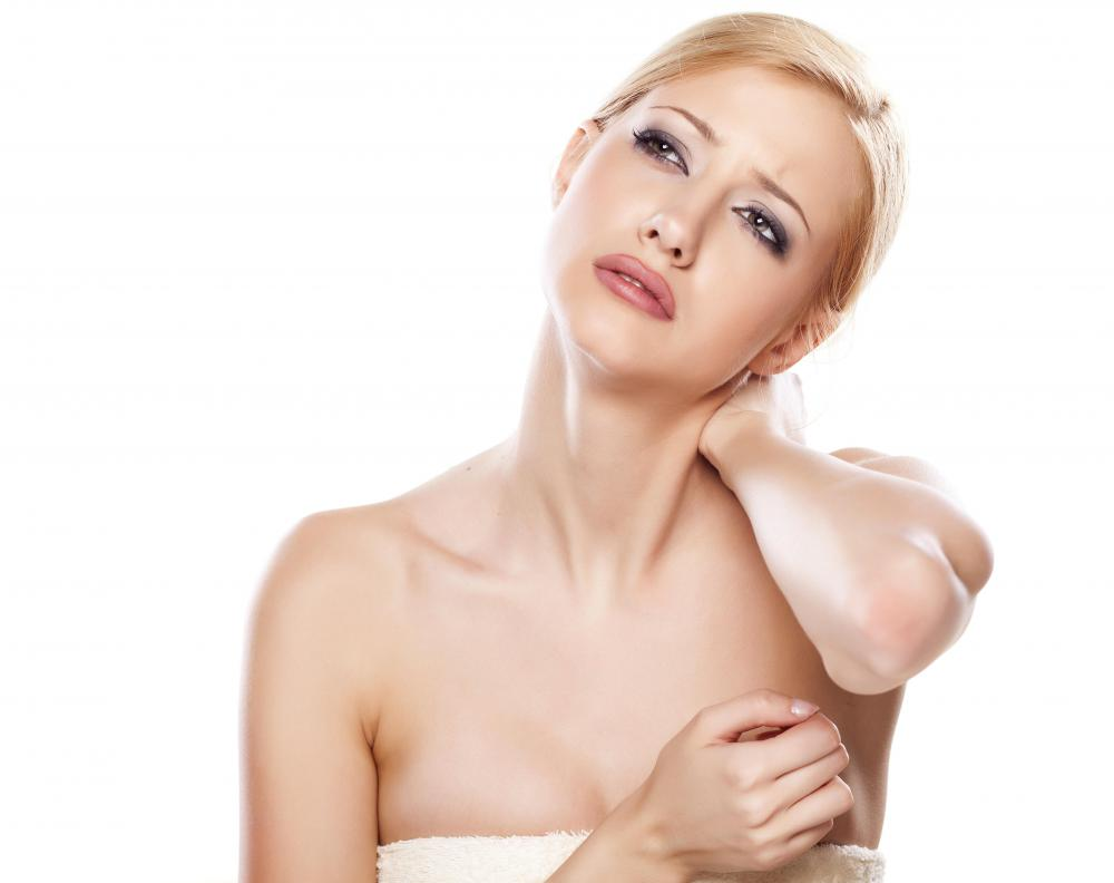 Stretching the muscles in the neck and rolling the head from side to side can help alleviate the pain of a stiff neck.