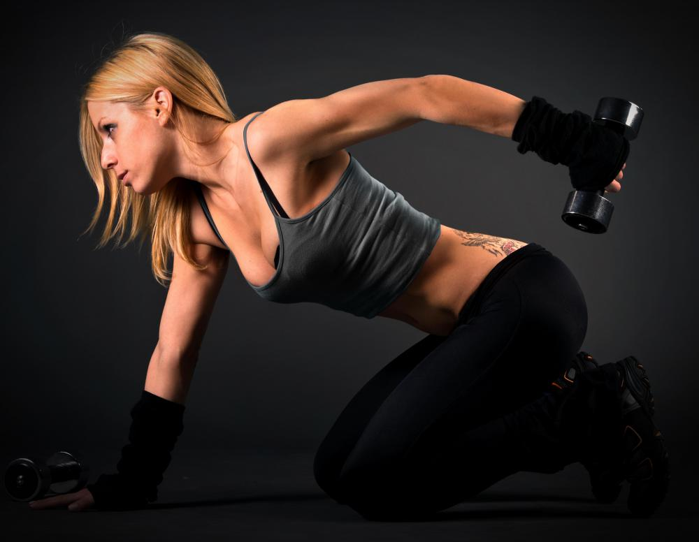 Hand weights can be used to tone the arms.