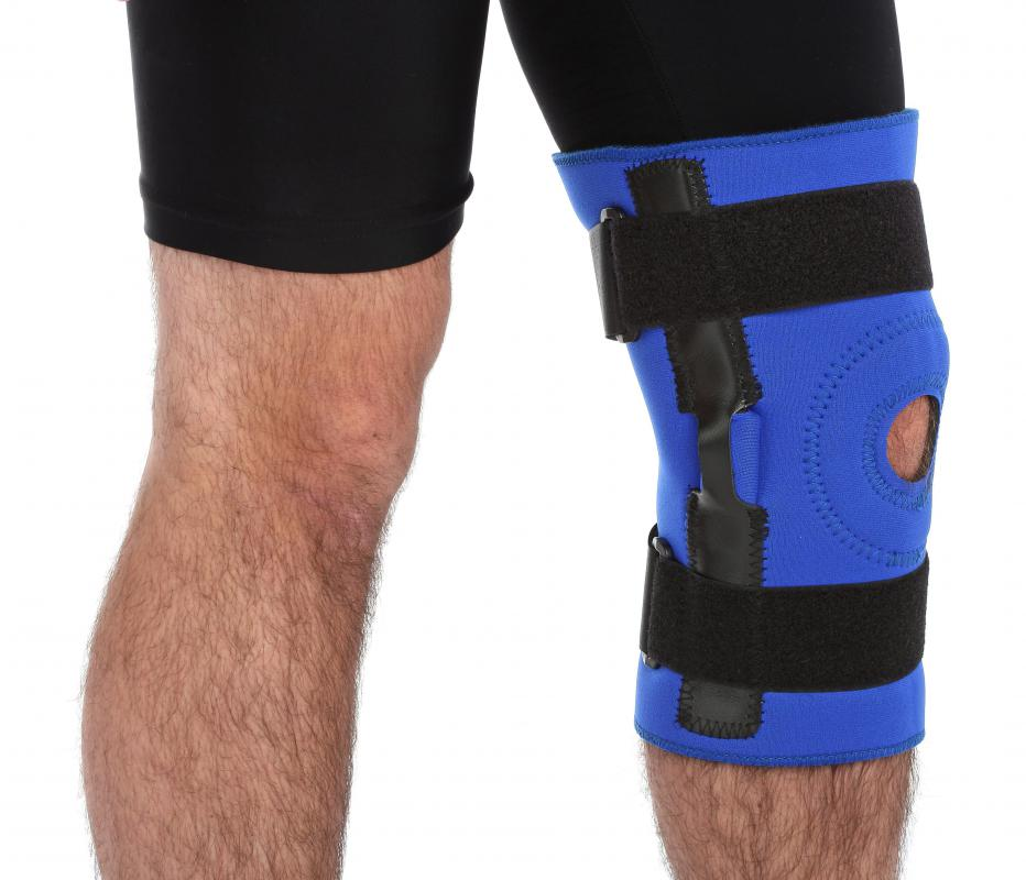 A man wearing a knee brace.