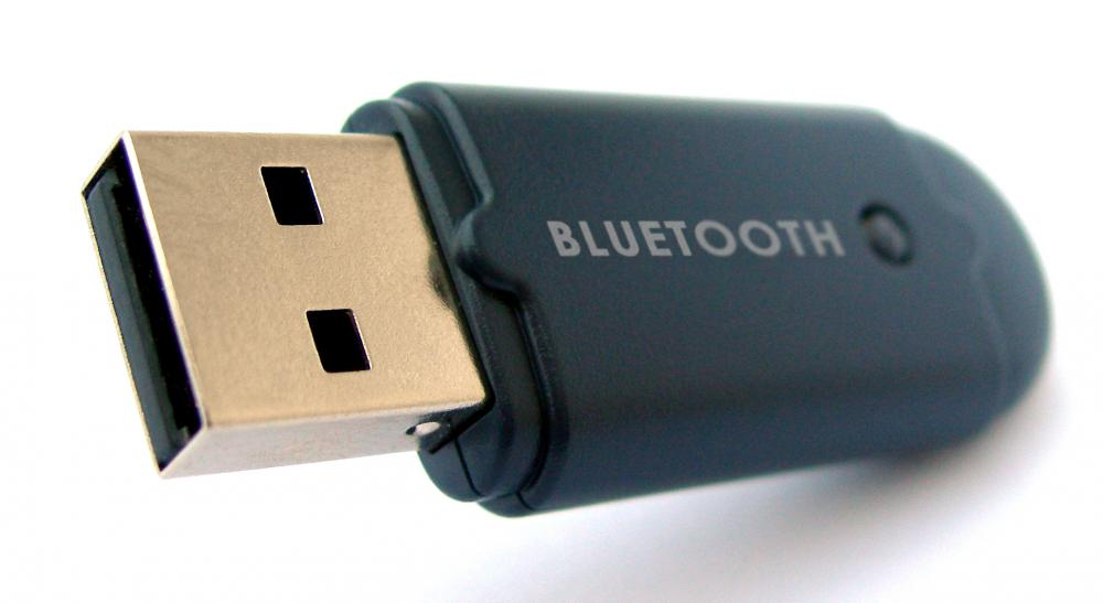 A Bluetooth® dongle that transmits signals wirelessly.