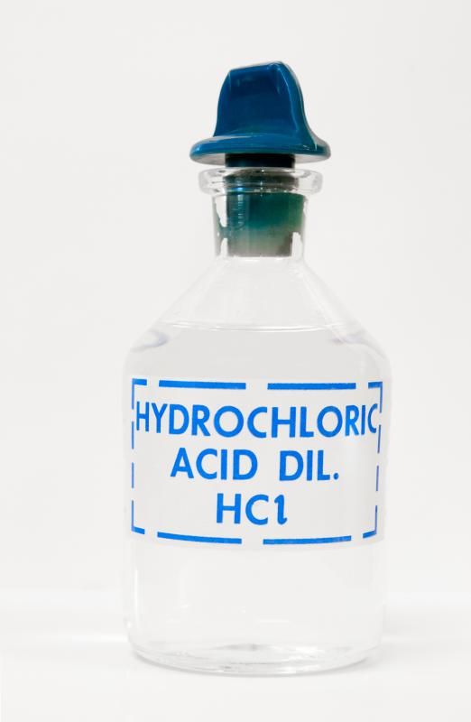 Hydrochloric acid is used to lower the pH of highly alkaline water.