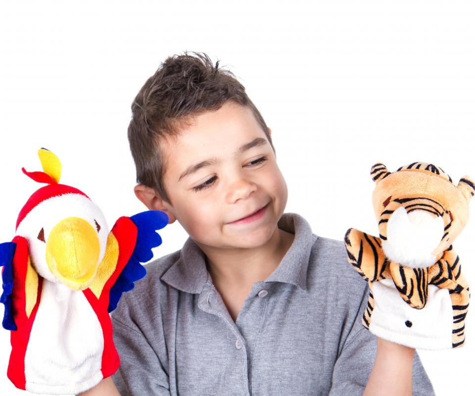 Children can be encouraged to write their own screenplay for a puppet show.