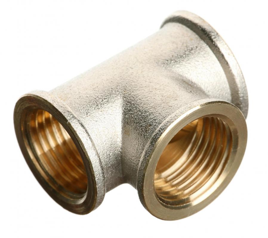 A brass pipe fitting.