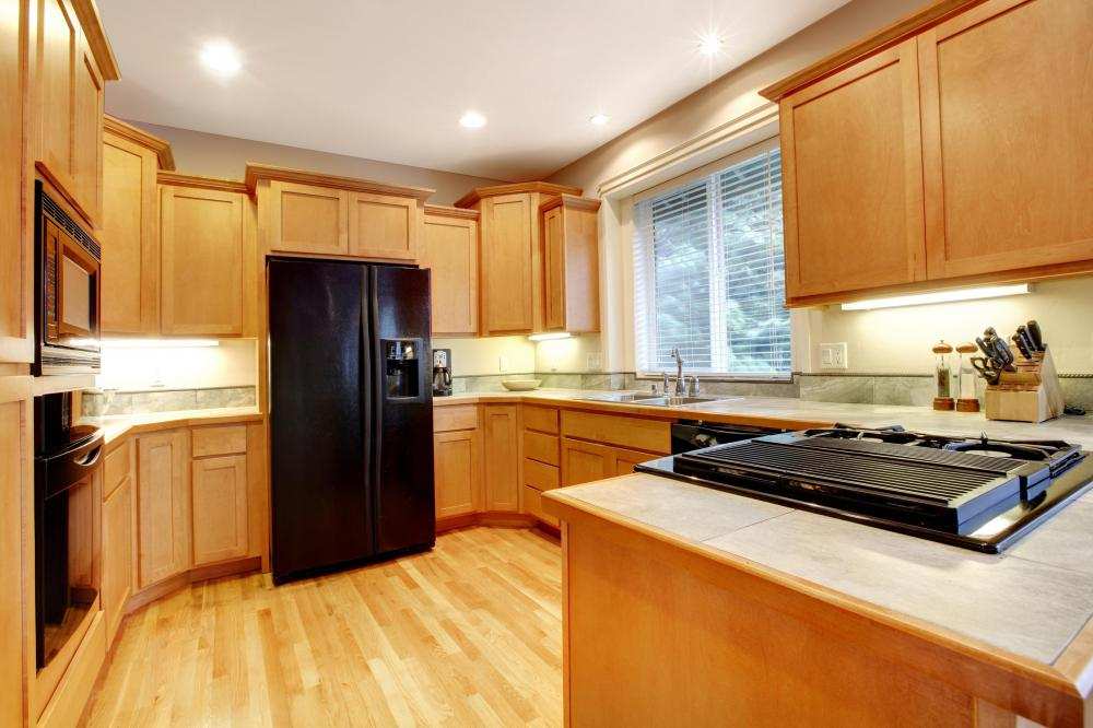 Veneers are used on cabinets.