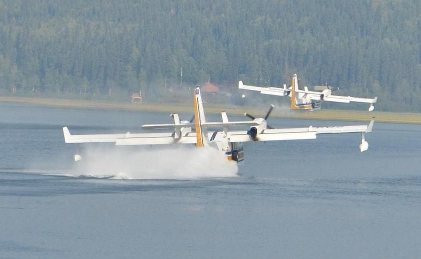 The CL-215 is an example of a true seaplane, as its fuselage can act as a buoyant hull.