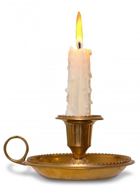 Antique brass is used in candle holders.