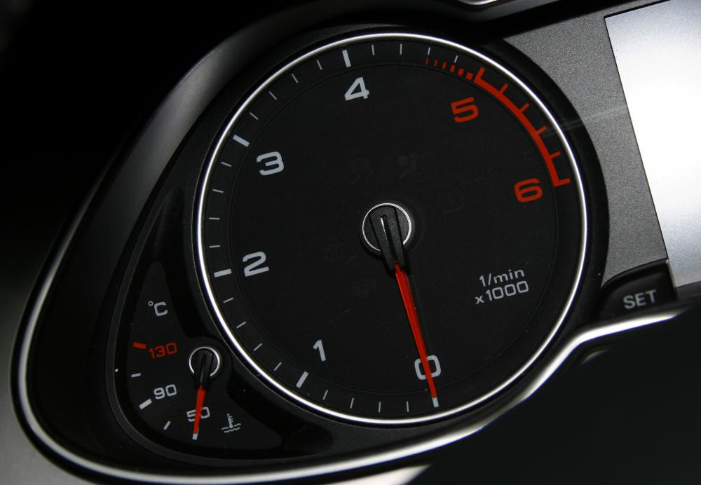Most vehicles include a tachometer which displays the rotation speed of the engine in rotations per minute.