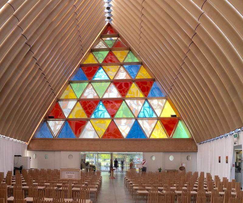 The Cardboard Cathedral in Christchurch, New Zealand, has been welcoming worshippers since 2013, as a temporary replacement to the city's cathedral that was severely damaged by the February 2011 earthquake.