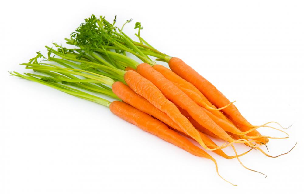 Carrots are high in beta carotene.