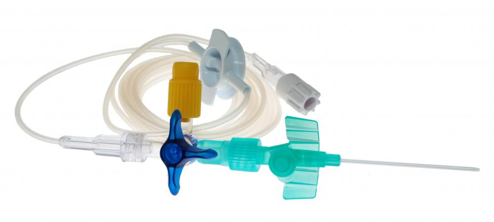 An intravenous cannula and tubing.
