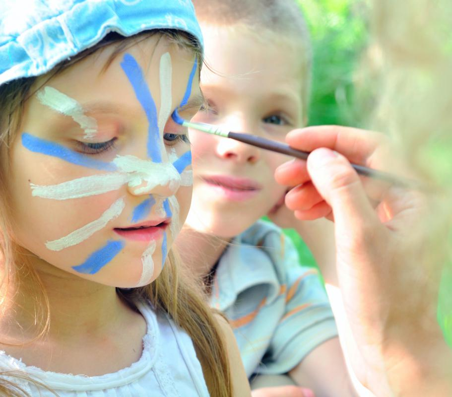 Face painting is common at parties and festivals for children.