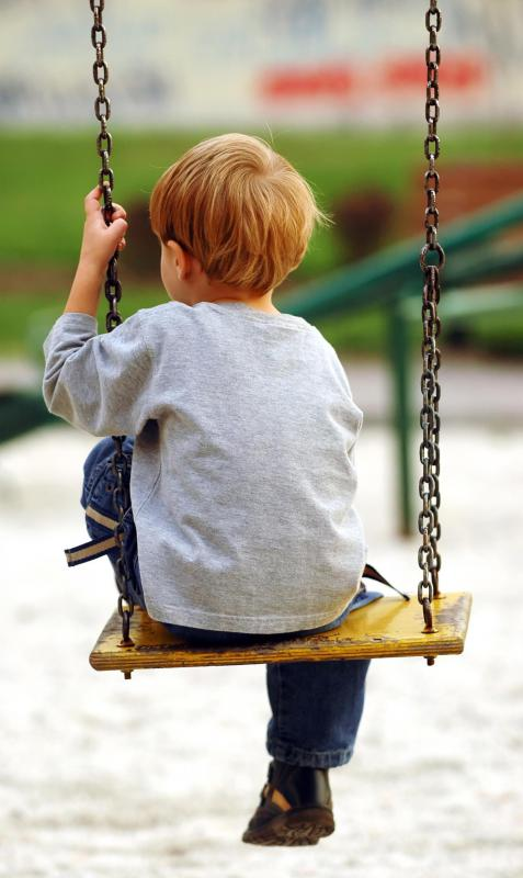 Swing sets are included in most playgrounds.