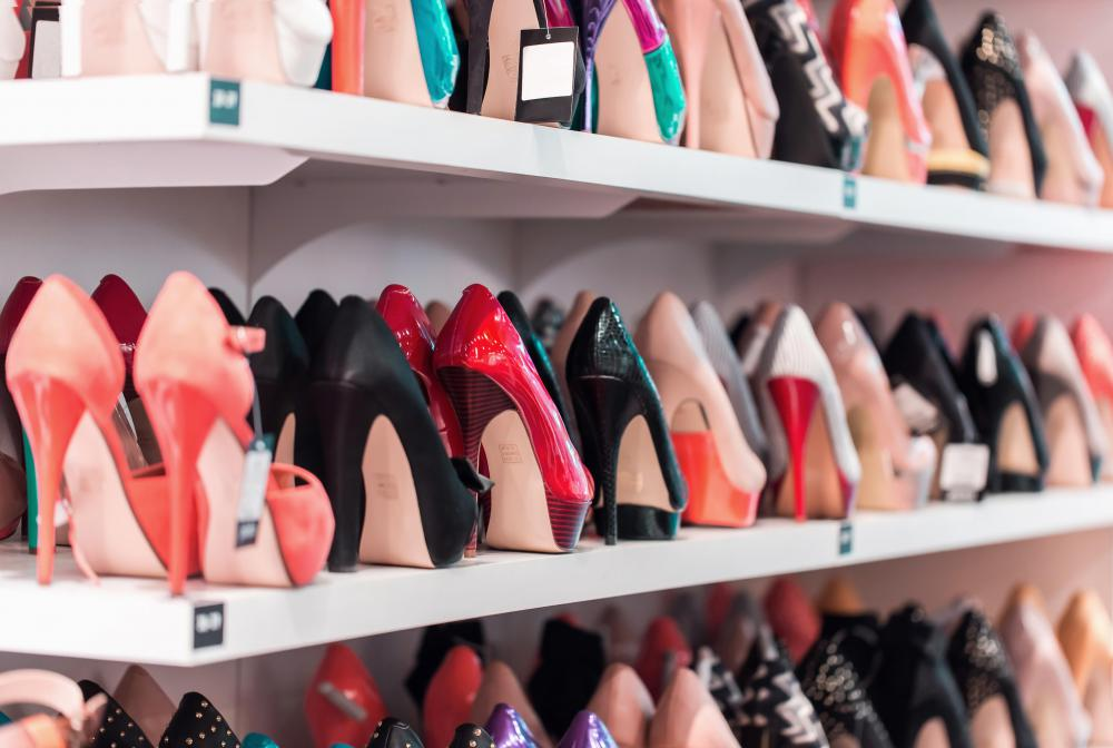 Shoe racks may be placed inside closets to display shoes.