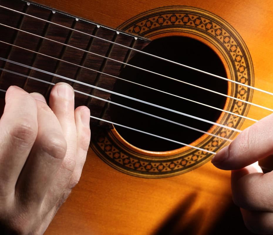 Acoustic guitars have either six or 12 strings.