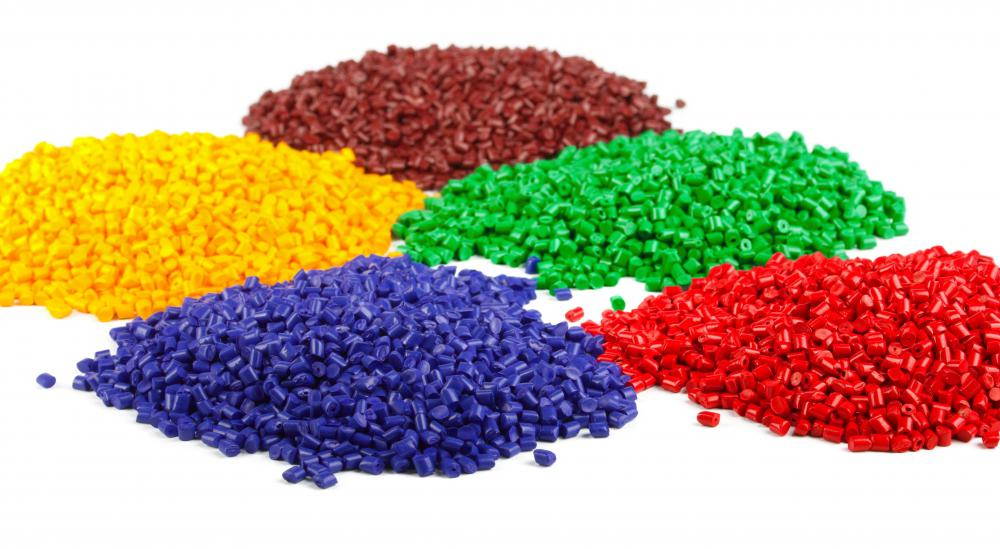 Pellets of recycled plastic.