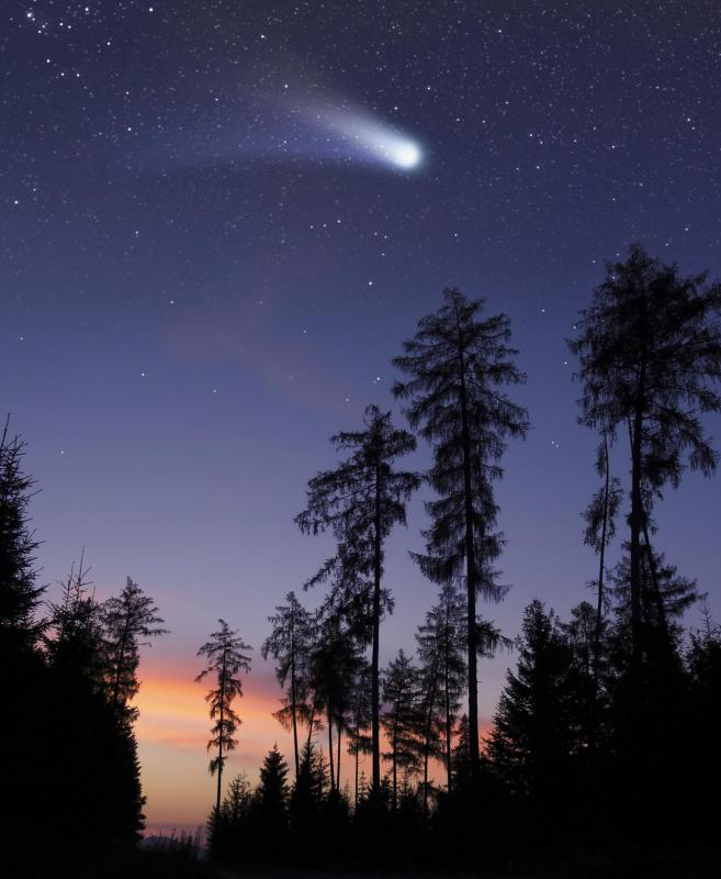 A streak of bright light is created when a meteorite enters the Earth's atmosphere.