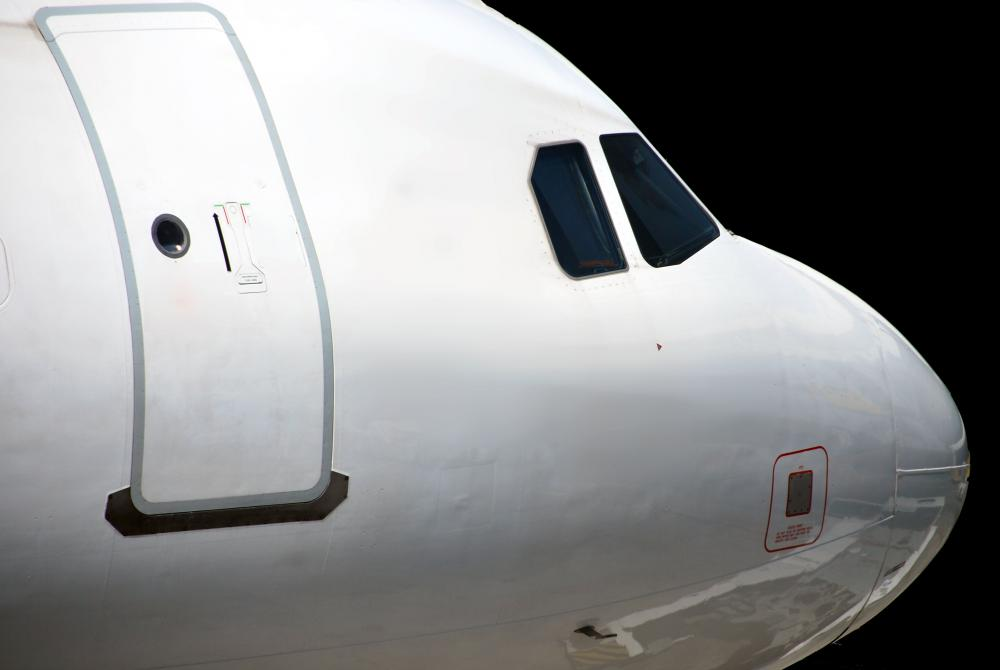 Nose of commercial airplane.