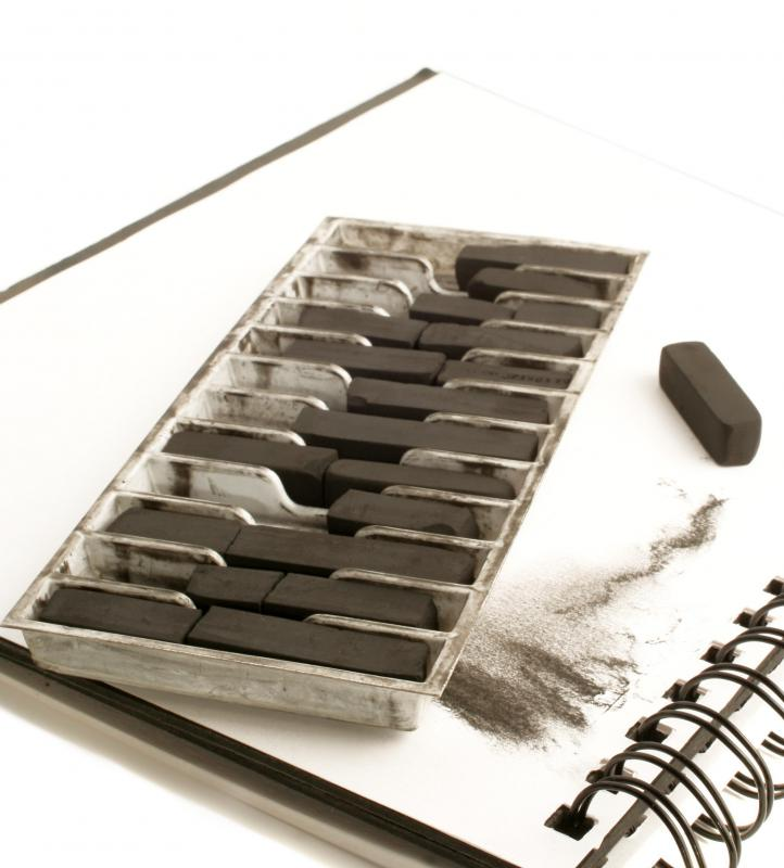 Compressed charcoal sticks are categorized as extra soft, soft, medium, and hard.