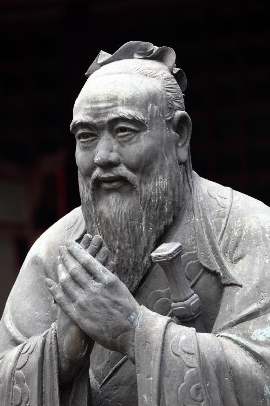 A statue of Confucius, the founder of Confucianism.