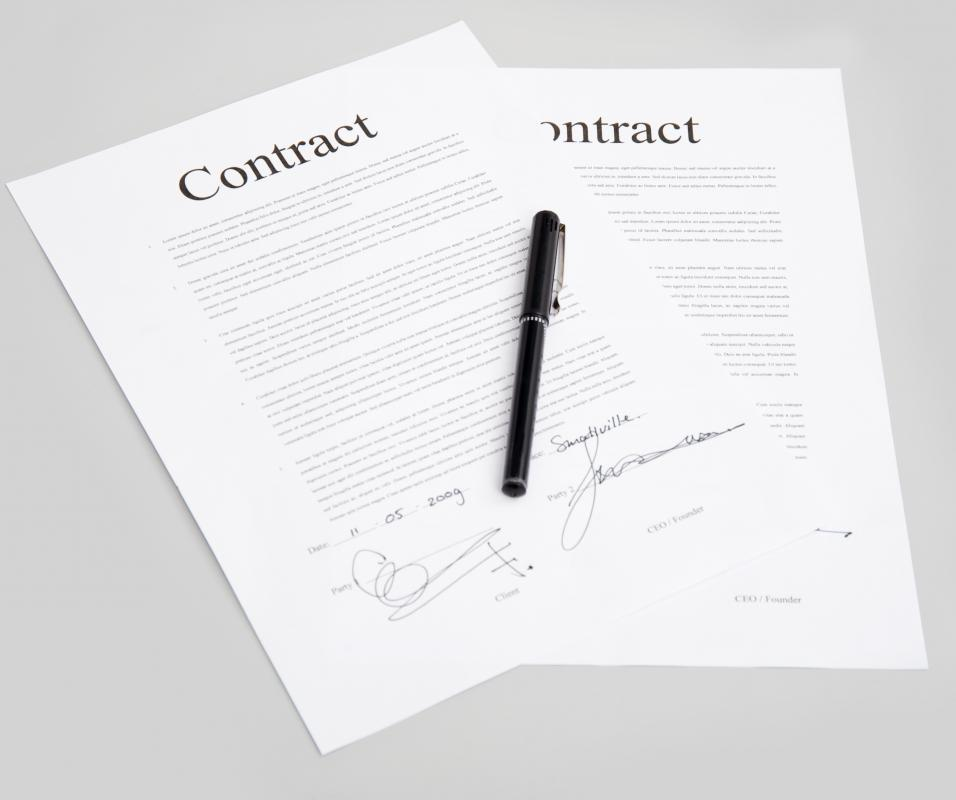 Sections within a written contract are known as clauses.