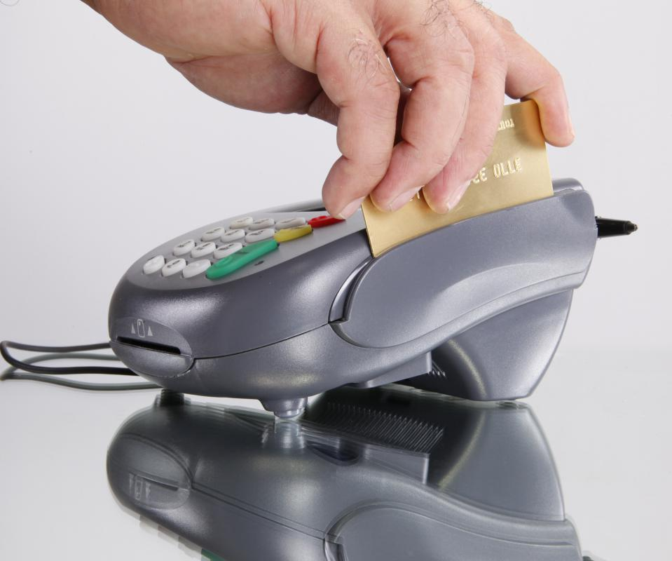 When a credit card is swiped through a credit card terminal, its magnetic strip is scanned for relevant user data.