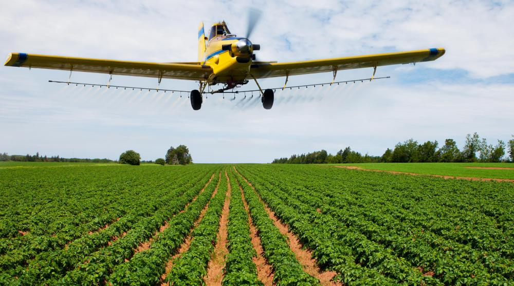 Both pesticide and herbicide can be sprayed from aircraft.
