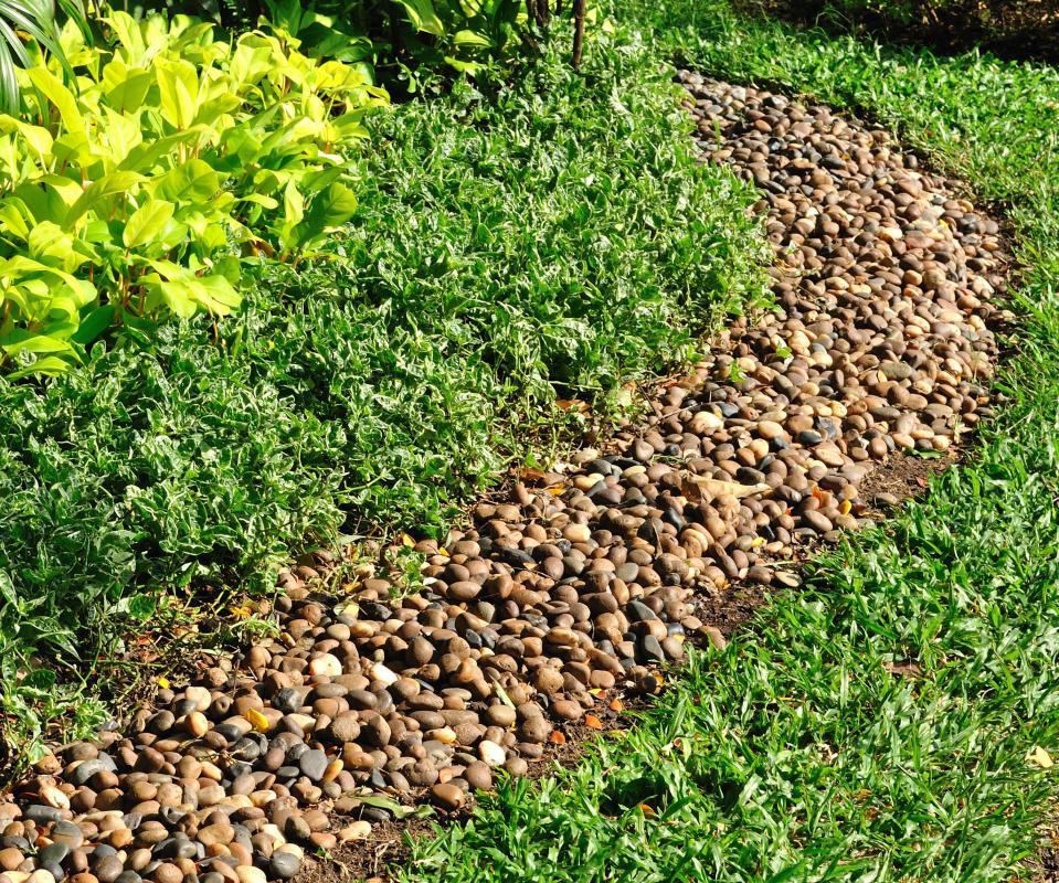 Gravel might be used in different landscaping designs.