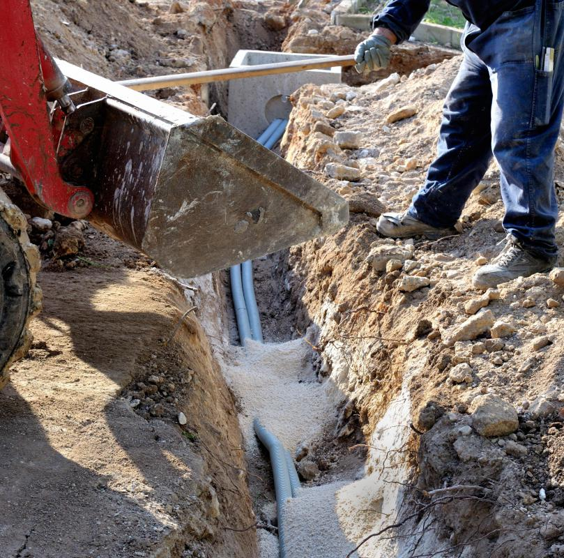 Trenches are often dug in order to accommodate utility lines.