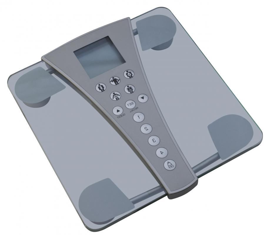 A digital bathroom scale may be used to track weight loss.