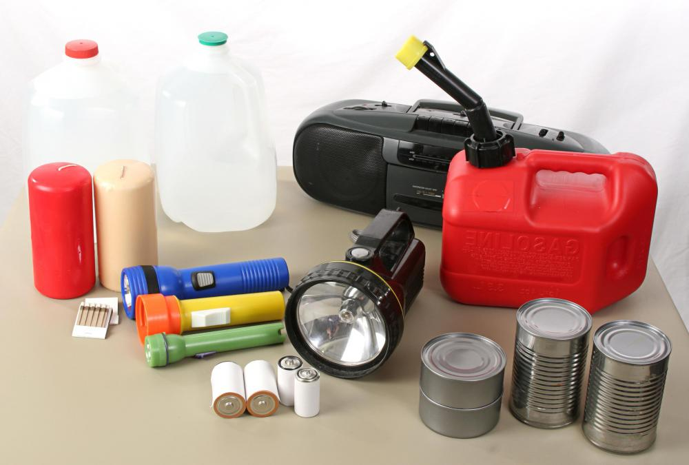 Disaster kits should include whatever a person needs to survive on their own for several days.