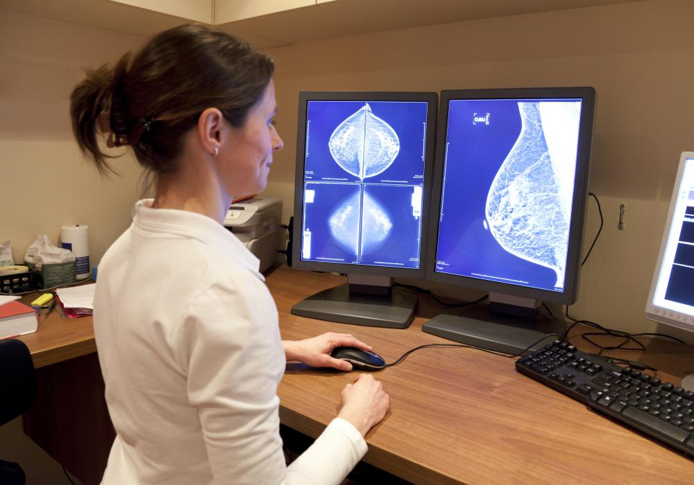 Breast cancer may be diagnosed through use of a mammogram.