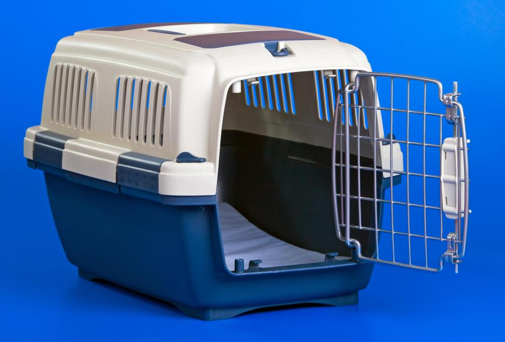 A pet carrier that can be used to hold an animal on a flight.