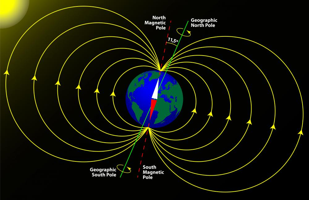 The Earth has a planetary magnetic field.