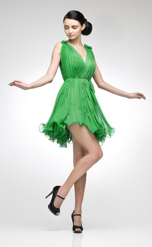 Emerald green cocktail dress.