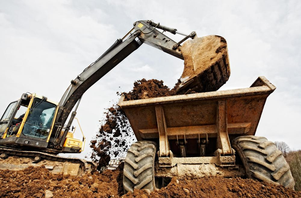 Dump trucks are often used to transport natural material to and from construction sites.
