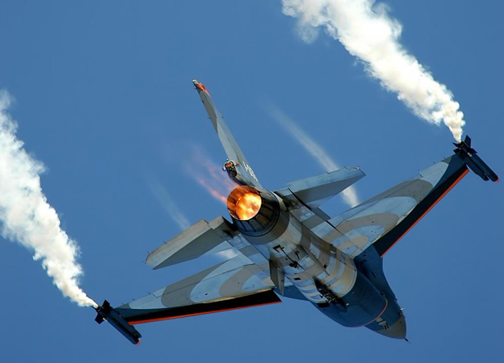 Older fighters, like the F-16 Fighting Falcon, need to light their afterburners to go supersonic.