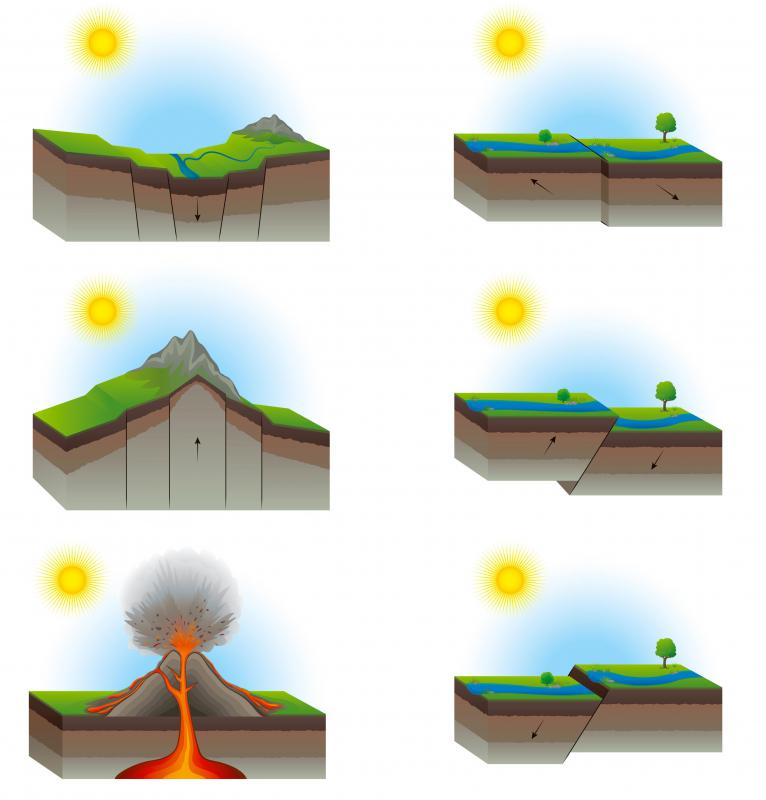 The Earth's tectonic plates may rise together, drop downward, shear, or overlap at their point of contact.