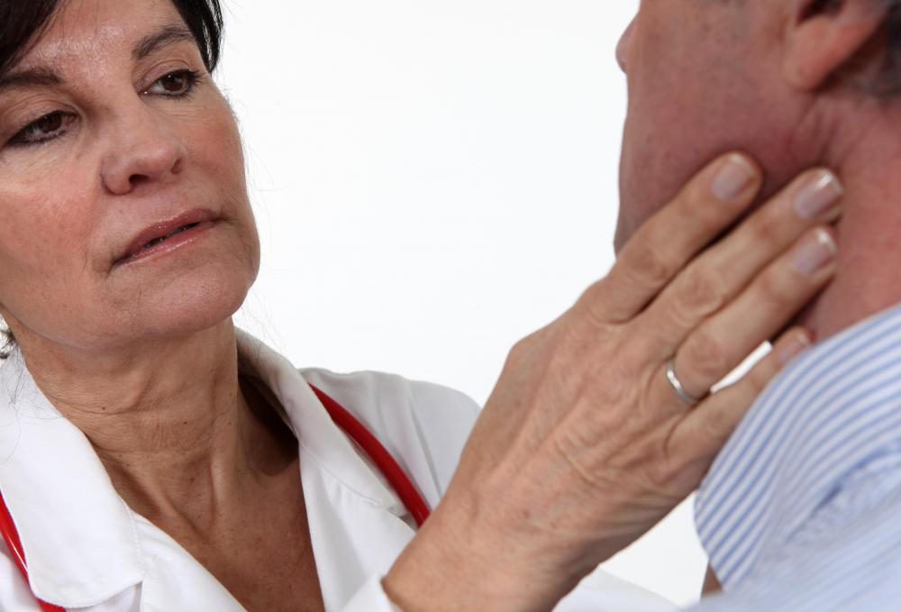 The pulse can be taken by placing fingers over the carotid artery.