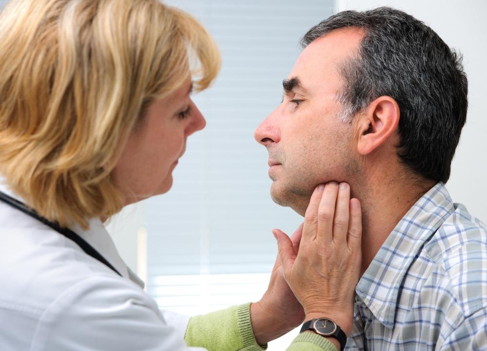 A thyroid lesion may sometimes be seen upon physical examination.